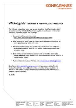 eTicket guide - CeMAT fair in Hannover, 19-23 May 2014