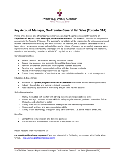 Key Account Manager, On-Premise General List Sales (Toronto GTA)