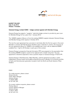 Genesis Energy Limited (GNE) – hedge contract agreed with