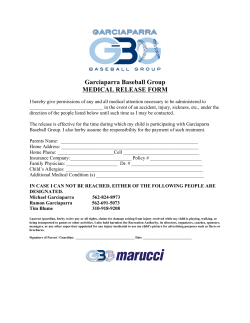 Garciaparra Baseball Group MEDICAL RELEASE FORM