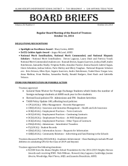 BOARD BRIEFS - Alamo Heights Independent School District