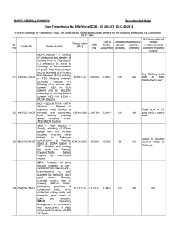 SOUTH CENTRAL RAILWAY Secunderabad Division Open Tender