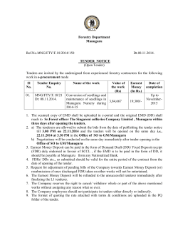 Forestry Department Manuguru Ref.No.MNG/FTY/F.18/2014/150 Dt