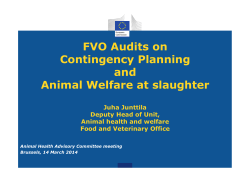 FVO Audits on Contingency Planning and Animal Welfare