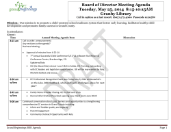 Board of Director Meeting Agenda Tuesday
