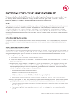 inspection frequency pursuant to nsf/ansi 223 - Industries