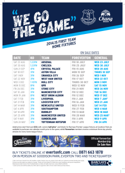 2014.15 FIRST TEAM HOME FIXTURES