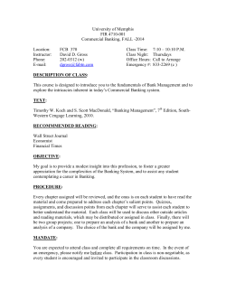 University of Memphis FIR 4710-001 Commercial Banking