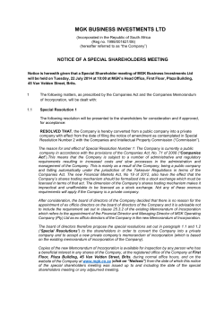 Notice of a Special Shareholders Meeting