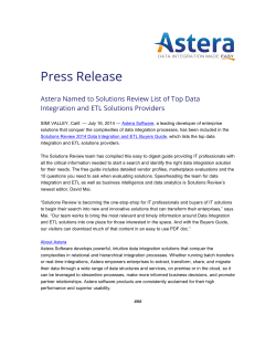 Press Release - Astera Software
