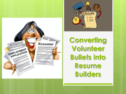 Converting Volunteer Bullets into Resume Builders