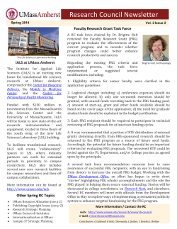 Research Council Newsletter - University of Massachusetts Amherst