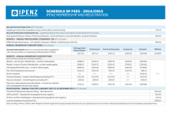 SCHEDULE OF FEES – 2014/2015 IPENZ MEMBERSHIP AND