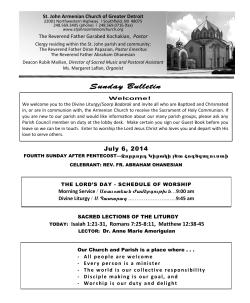 July 6th Bulletin - ST. JOHN ARMENIAN CHURCH of Greater Detroit