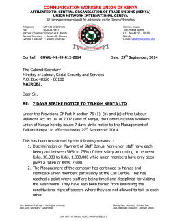 7 days strike notice to telkom kenya ltd