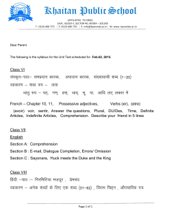 Unit Test Syllabus(VI-X) - Khaitan Public School, Noida
