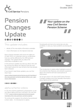 Pension Changes Update - Civil Service Pensions