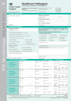 H1: Healthcare pathogens request form