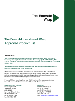 The Emerald Investment Wrap Approved Product List