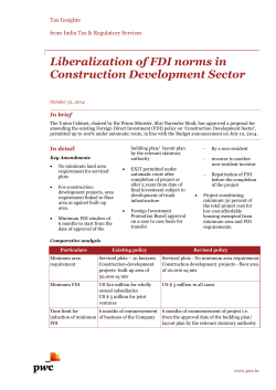 Liberalization of FDI norms in Construction Development Sector
