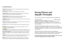 Group Fitness and Aquafit Timetable