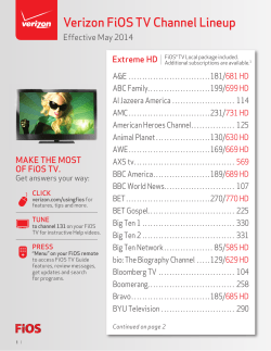 Verizon FiOS TV Channel Lineup
