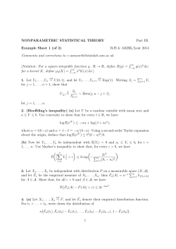 NONPARAMETRIC STATISTICAL THEORY Part III. Example Sheet 1