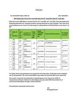 MSP Maize Sale Status of E-Auction Held on 19th June and 20th