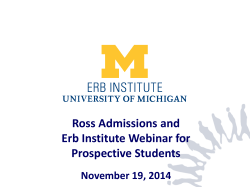 Ross Admissions and Erb Institute Webinar for Prospective Students