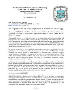 press release - New Mexico Network for Women in Science and