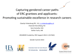 !Capturing!gendered!career!paths!! of!ERC!grantees!and!applicants