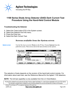 1100 Series Diode Array Detector (DAD) Dark Current Test