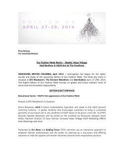 Eco Fashion Week Press Release - Vancouver Economic Commission
