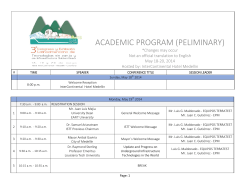 ACADEMIC PROGRAM (PELIMINARY)