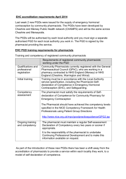 Information on training requirements for the EHC PGD and
