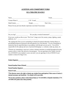 AUDITION AND COMMITMENT FORM ECA THEATRE 2014/2015
