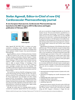 Stefan Agewall, Editor-in-Chief of new EHJ Cardiovascular
