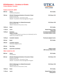 ECM RESIDENCY – SCHEDULE OF EVENTS