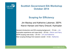 Scottish Government EIA Workshop October 2014 Scoping for