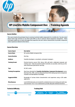 HP LiveSite Mobile Component Dev - Training Agenda
