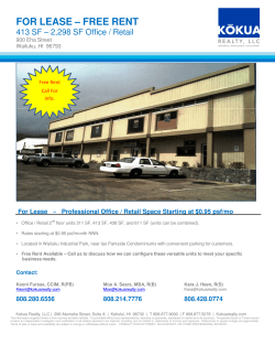 FOR LEASE – FREE RENT - CommercialSearch.com