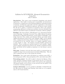 Syllabus for ECN/EEC676, Advanced Econometrics