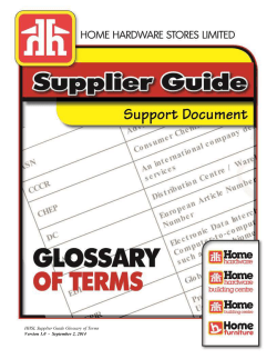 HHSL Supplier Guide Glossary of Terms Version