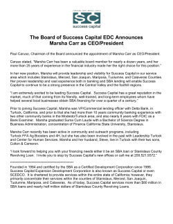 The Board of Success Capital EDC Announces Marsha Carr as CEO