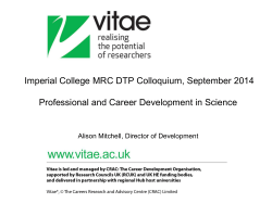 Imperial College MRC DTP Colloquium, September 2014
