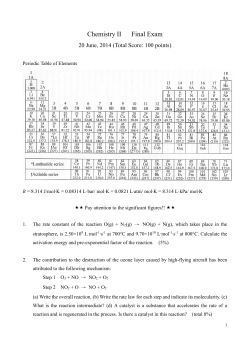 Chemistry II Final Exam