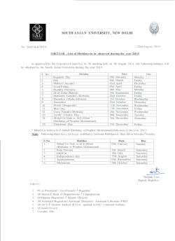 List of Holidays-2015 - South Asian University