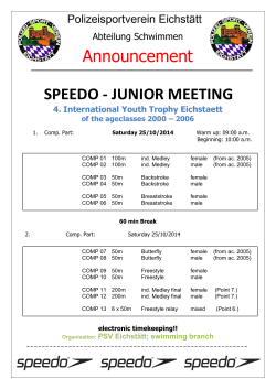 SPEEDO - JUNIOR MEETING Announcement