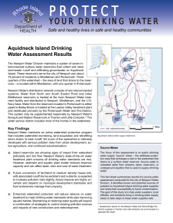 Aquidneck Island Drinking Water Assessment Results