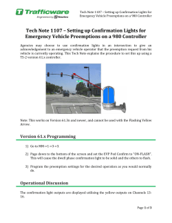 Setting up Confirmation Lights for Emergency Vehicle